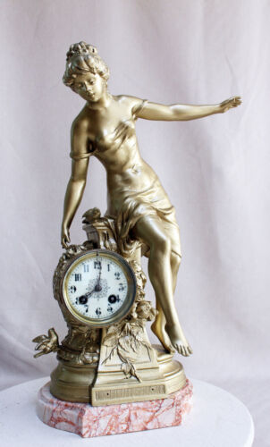 Heavy Marble Art Nouveau French Clock 1900 with statue
