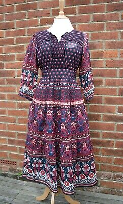 Vintage 70s Indian Cotton Gauze Festival Dress Hippy 6/8/10