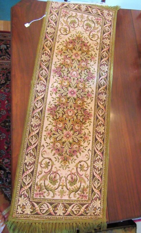 Vintage Belgian Taperstry Embroidered Long Table Runner With Fringe