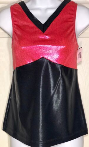 WAS $37.95 NWT! GK Elite Coral Black Foil Sleeveless V Neck Dance Top Adult XL