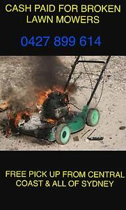 $$$$ CASH PAID FOR YOUR BROKEN MOWER FREE PICK UP RIDE ON OR PUSH TYPE Hornsby Heights Hornsby Area Preview