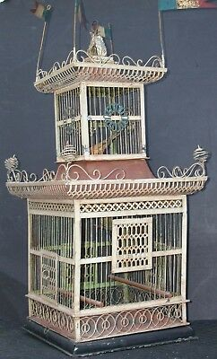 Antique Fr Victorian Architectural Tole Pagoda Flags Birdcage Bird Cage 2 Story