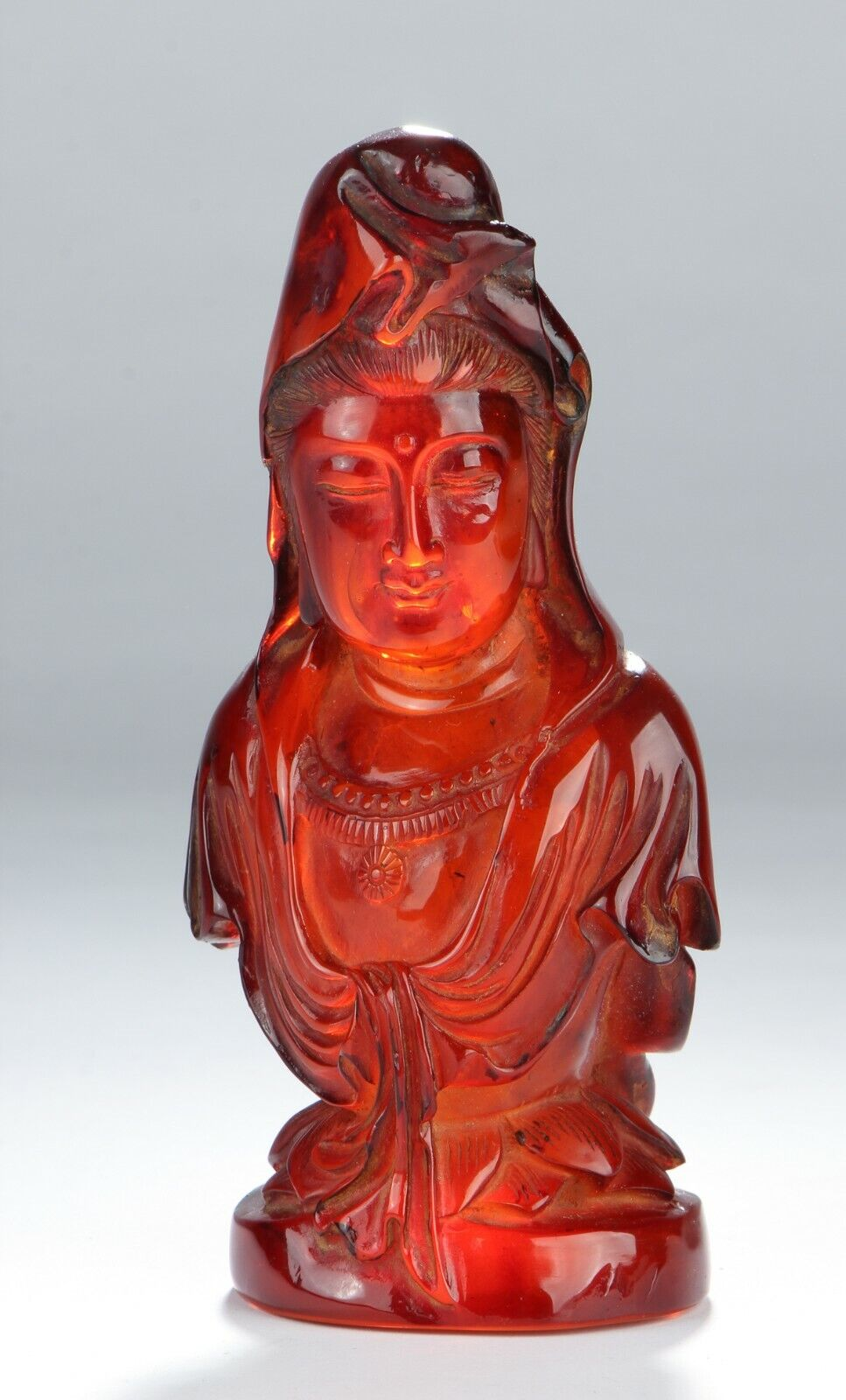 Qing Dynasty Antique Fine Chinese Carved Amber Guanyin - $6,900.00