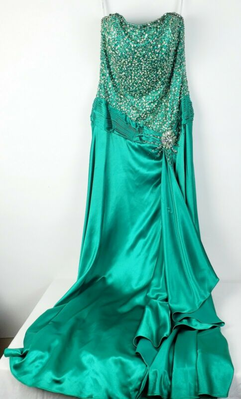 Tiffany Designs Prom Party Pageant Strapless Beaded Sequin Green Dress Gown Sz 4