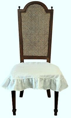 Linen Dining Room Chair Seat Cover Slipcover 4 sided Ruffle Off White Large