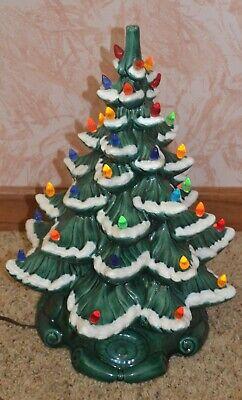 Vintage Ceramic Christmas Tree Lights Up With Base