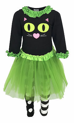 Cat Costume Girls (Girls Boutique Halloween Cat Costume with Tutu Outfit 2t 3t 4t 5 6 7 8)