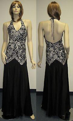 (Sue Wong S7402 Designer Dress Sz 6 Gown Wedding Evening Black Ivory Sequin)