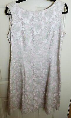 VINTAGE Womens 18 Sears Fashions 1960's Brocade Pink Lt. Green A Line Dress B5