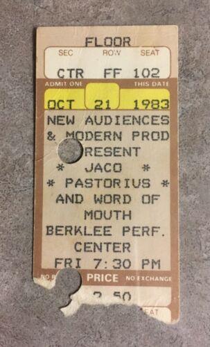 Jaco Pastorius Bass Word Of Mouth Ticket Stub Berklee Weather Report Jazz 1983