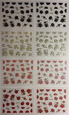 Nail Art 3D Decal Stickers Pretty Roses Rose Buds Flowers Tj028