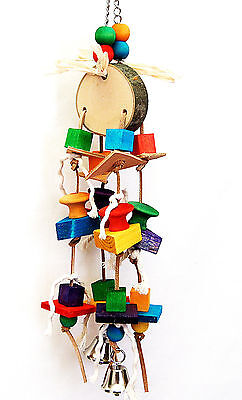 Bird Toy Parrot Wooden Toy Drum And Bell Cage Toys Senegal Amazon Mini Macaw