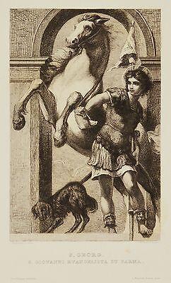 Radierung 19.Jh S. Georg Heiliger Georg S. Giovanni Evangelista Parma 38 x 28 cm