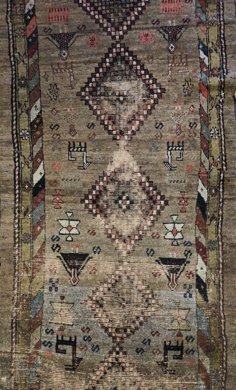 Amazing Azerbaijani - 1880s Antique Tribal Rug - Camel Hair Azeri - 3.1 X 9.6