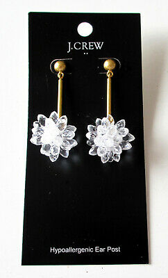 42fe76d0a89f7 NWT J. Crew Factory Snowdrop Statement Earrings Brass-Tone & Clear Snow  Drop NEW