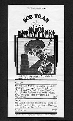 1969 Bob Dylan The Who Moody Blues Concert Handbill Flyer Isle of Wight UK