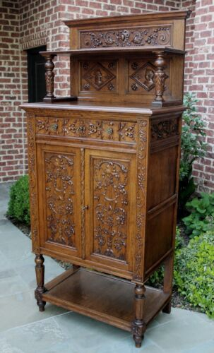 Tall Antique French Cabinet Bookcase Gothic Vestry Altar Wine Bar Carved Oak