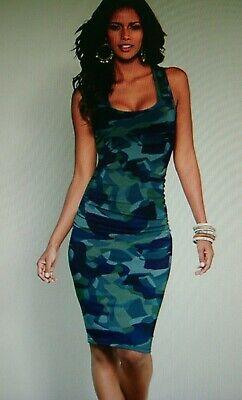 NEW VENUS RUCHED TANK DRESS M BLUE MULTI *SEXY & FLATTERING FIT! Multi Blue Dress