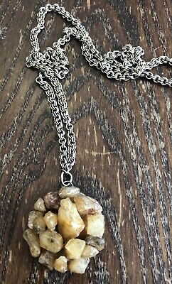 Citrine Gemstone Multi Point Cluster Round Medallion Pendant Chain Necklace