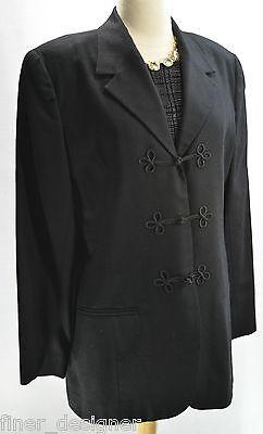 VTG Womens CARROLL REED 100% smooth wool skirt suit 2 piece Black Frog Blazer 12