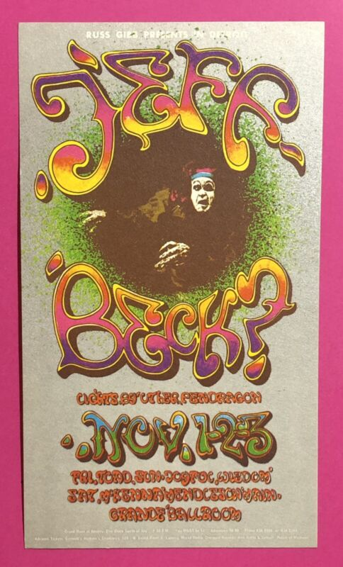 1968 1st Print Russ Gibb Grande Ballroom Detroit Jeff Beck Concert Postcard