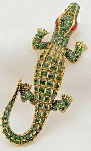 Alligator Green Crystals Red Crystal Eyes Vintage Gold Pendant Pin Brooch D-5687