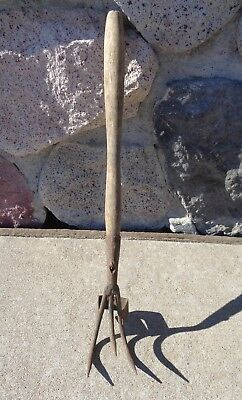 Vintage 3 Tine Small Pitchfork Tool 16  Farm Primitive Weathered Wood Handle