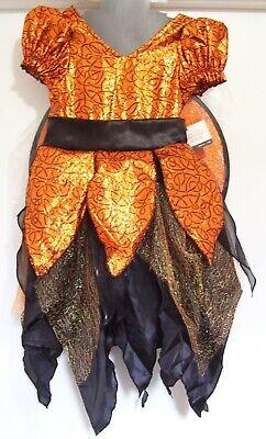 Girls Orange Black Metallic Harvest Witch Halloween Play Dress Costume S 4-6 NWT](Fun Halloween Costumes For Girls)