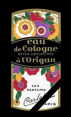 French Antique 1920's Perfume Label: Art Deco Carletti, Paris Antique Label Art