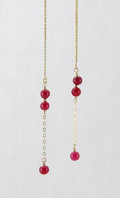 *IAJ* Genuine RUBY LONG LINEAR DANGLE 14k GOLD FILLED Ear Threader Earrings 14k Gold Filled Dangle Earrings