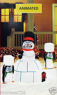 New 5.5ft Lighted Animated Shaking Snowman Igloo Christmas Airblown Inflatable 3
