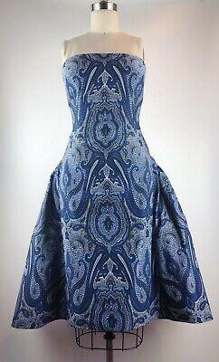 Elizabeth Kennedy Ottoman Paisley Strapless Party Dress Size2