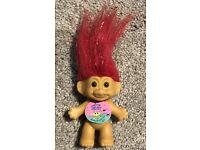 2973 NEW Russ Sparkling Good Luck Troll Doll BLUE Sparkle Shine Hair 3 inch