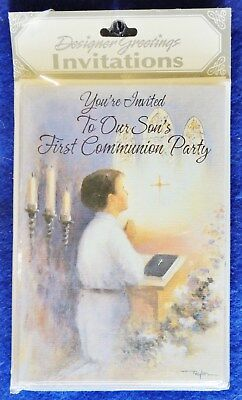 8pk Son's First  Communion Party Invitation Cards Designer Greetings ~3.5
