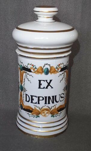 Antique Cherub French DRUG Apothecary Pharmacy Pot Chemist Porcelain Covered Jar