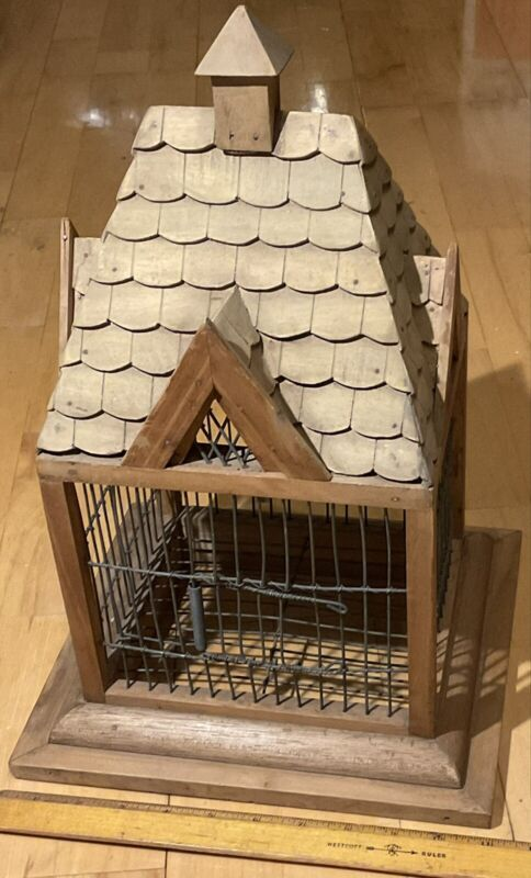 Vintage Handcrafted Wooden Wood 4 Gabled Parakeet Bird Cage Aviary Decor