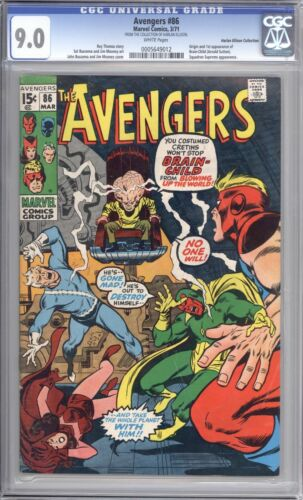 AVENGERS #86 - CGC 9.0 - 1971 / WHITE PAGES / HARLAN ELLISON COLLECTION