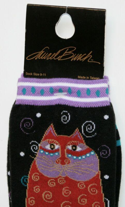 Laurel Burch Cat Socks Black Socks with Red Cat Women