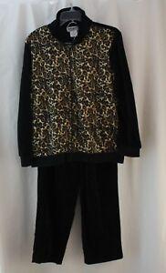 Anthony Richards, Medium, Leopard Print Zippered Jacket/ Pant Track Suit