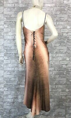 Roberto Cavalli New Stretch Dress 12 US 48 IT L XL Leather Lace Up Runway Auth