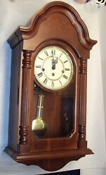 Working Harrington House Key Wound Westminster Chime Wall Clock Hermie Movement