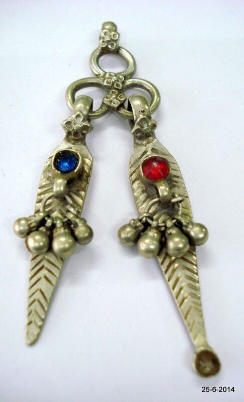 vintage antique ethnic tribal old silver toothpick & ear cleaner pendant necklac