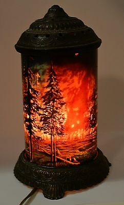 Vintage Forest Fire Motion Lamp Scene In Action Corp Chicago Antique