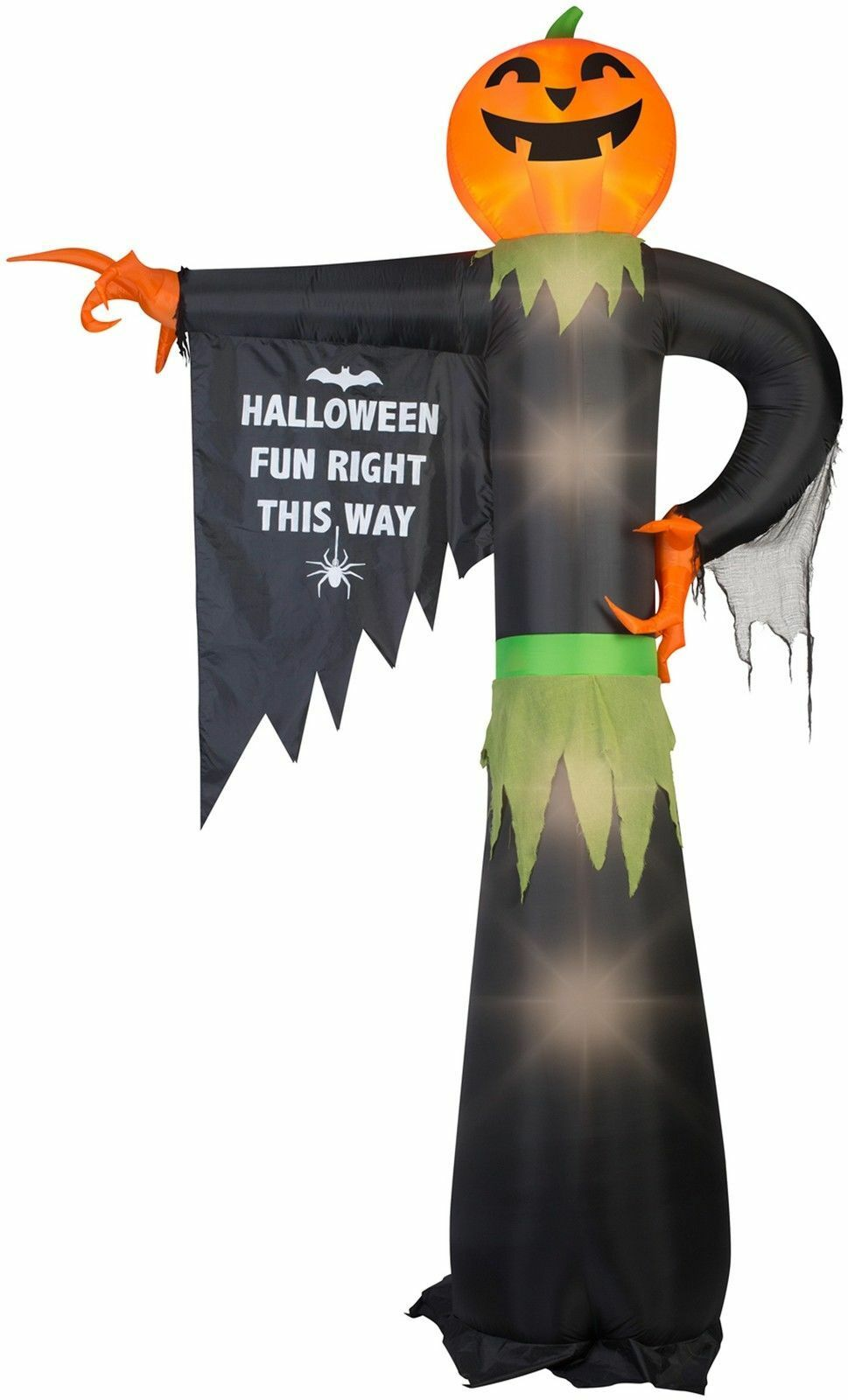 12' Airblown Inflatable Pumpkin Reaper Pointing W Halloween Sign Hallowen Decor