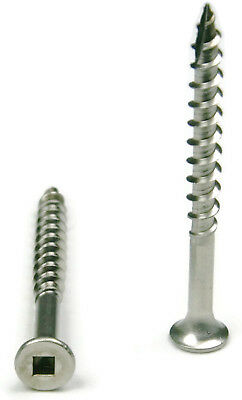 8 Stainless Steel Deck Screws Square Drive Wood Cutting Type 17 Point - Qty 100