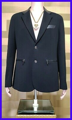 NEW VERSACE BLACK COTTON BLAZER COAT JACKET with LEATHER INSERTS 54 - 44