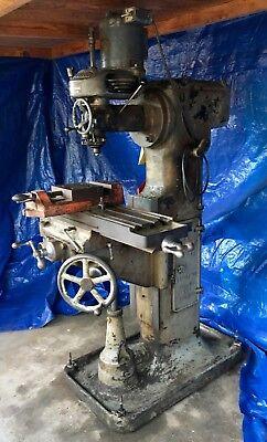 Vintage Bridgeport Milling Machine Head With Vertical Cochrane Bly Stand