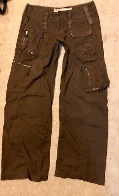 VTG Abercrombie Eve Featherweight Brown Flight Pants cargo HTF women's 6 8 EUC