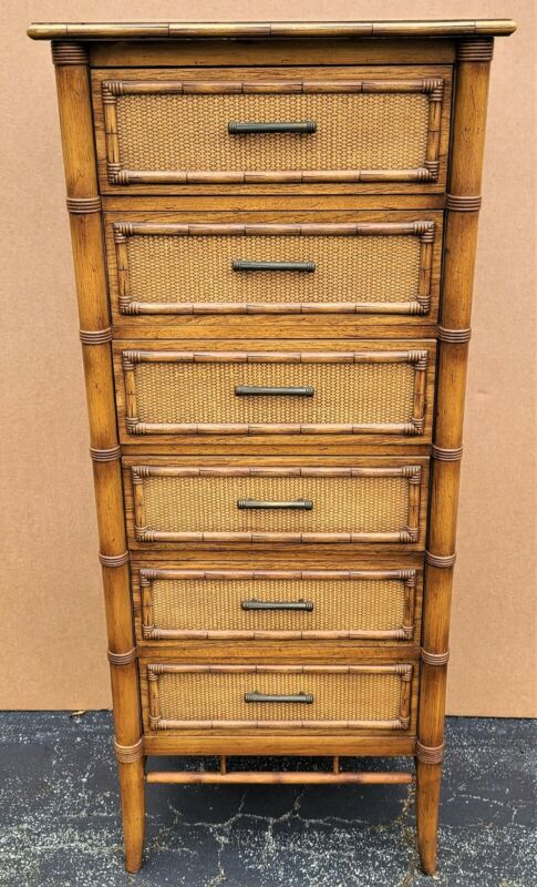 Vintage THOMASVILLE Faux Bamboo Wicker Asian Chinoiserie 6 Drawer Lingerie Chest