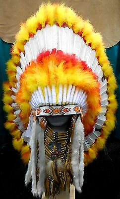 "Native American Navajo War Bonnet Headdress 36"" diameter ""SUNBURST"" Orange & Red"